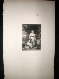 After Joshua Reynolds C1830 Folio Mezzotint. Miss Frances Harris, Children